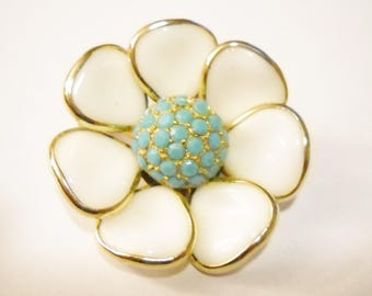 Brooch Poured Glass Flower White Glass Open Flower Turquoise Blue Faceted Glass Stones Mid Century 1950s Statement Brooch