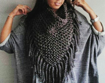 The Half Poncho - scarf with fringes, fringed scarf, tassel scarf, cowl with tassels, knit scarf, knit poncho, poncho, chunky knit poncho