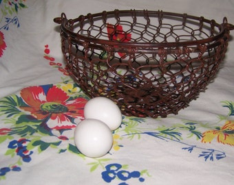 Chicken Wire Basket Brown Burl Finish Farmhouse Décor Country Heavy Metal Basket