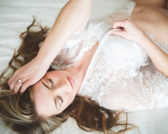 SALE - Lace Robe for Boudoir Photography, Honeymoon Lingerie, Getting Ready for your wedding day