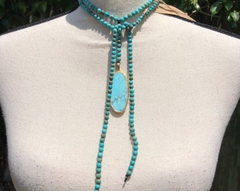 Turquoise Pendant and 4mm Beaded Wrap Choker Necklace