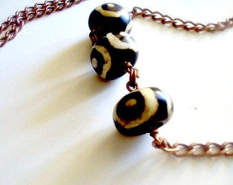 Wire Wrapped African Mudcloth Bead Necklace