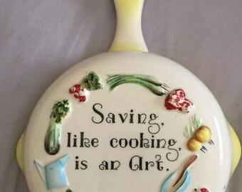1957 Saving Like Cooking is an Art Vintage Bank