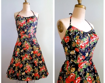 Wine in Piazza Navona   1980s bright floral sundress   80s summer dress