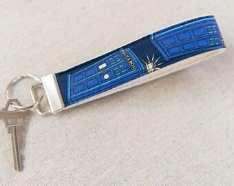 Key Fob, Keychain, Fabric Key Fob, Fabric Keychain, Fabric Wristlet, Womens Key Fob, keychain for women | Doctor Who Tardis