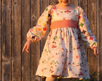 Fly a Kite Dress - Toddler Long Sleeved Dress - 12m, 18m, 2T, 3T, 4T - Fall, Autumn, Winter