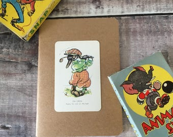 Golfer Notebook with vintage playing card cover A6 size