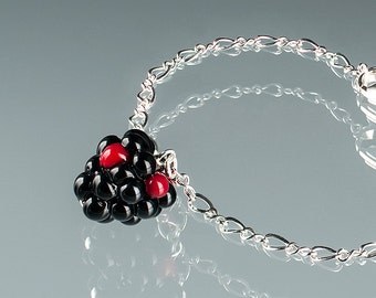 Blackberry Bracelet  Lampwork bead jewelry hand blown glass art Birthday gift, Mother's Day gift for gardener, cook, chef