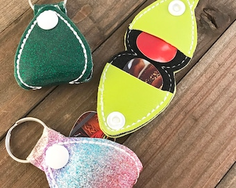 Guitar Pick Holder, Guitar Pick Keychain, Guitar Pick Snap Tab, You choose---70 Colors