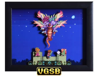Secret of Mana Shadowbox - Mana Beast - SNES - Super Nintendo - 3D Shadow Box Glass Frame - 12x10 - Christmas Gift - Pixel Art