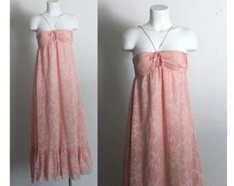 Vintage 1970s Pink Halter Maxi Dress / Vintage 1970s Pink Maxi Dress / Vintage 1970s Dress / Vintage Pink Maxi Dress / Size Small