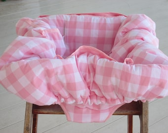 Baby Girl Shopping Cart Restaurant High Chair Shopping Buggy Cover - Petal Pink & White Gingham - Built-In Bag - Baby Girl Gift