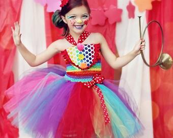 Girls Circus Costume- Girls Clown Costume- Carnival Birthday- Circus- Rainbow - 1st Birthday - Tutu dress- costume- girls costume dress