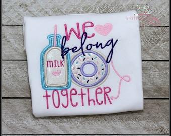 Girls Donut Bodysuit and Shirt, Girls Milk and Donut Shirt, We Belong Together, Embroidered Applique Shirt Bodysuit