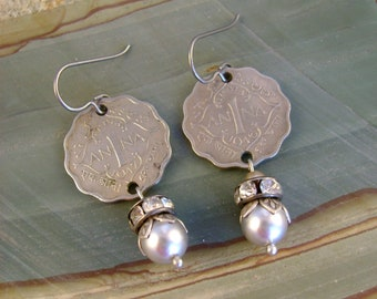 Always Anna - 1946 and 1947 British India Anna Coins Silver Pearls Rhinestones Recycled Repurposed Assemblage Jewelry Earrings
