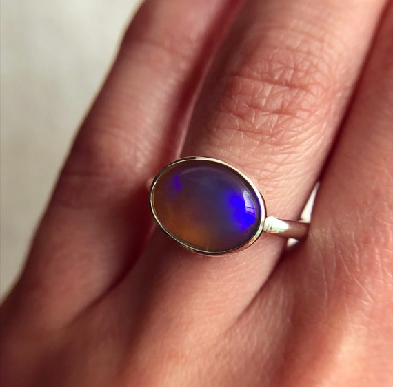 Sterling silver ring with Australian Crystal Opal SZ 6.75