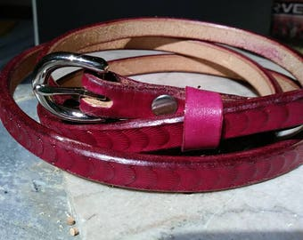 Cherry belt, thin leather belt, women's deep red belt, red dress belt, handmade leather belt, burgundy belt