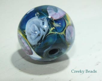 Handmade Lampwork Focal bead - 'Lilac and Blue!' - Creeky Beads SRA