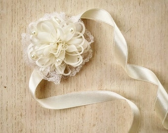 wedding wrist corsage, bridal corsage, ivory corsage, mother of the bride corsage