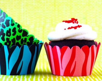 Animal Print Cupcake Wrappers - set of 12