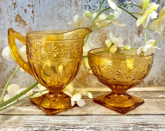 Indiana Glass Co., Daisy Amber Vintage Depression Glass, Set, Gold/Yellow Creamer and Sherbet Cup, Great Condition