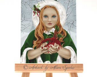 Winter Christmas Yule Holly Dragon ACEO with Mistletoe Dragon Girl Red Dragon Christmas Dragon - The Gift