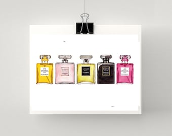 Print of LARGE COCO CHANEL perfume bottles in a row watercolou