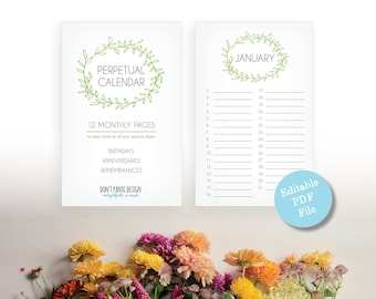 Printable Perpetual Calendar - Editable PDf - Sweet Green Leaf Eternal Birthday Calendar - Annivesary Calendar - Instant Download