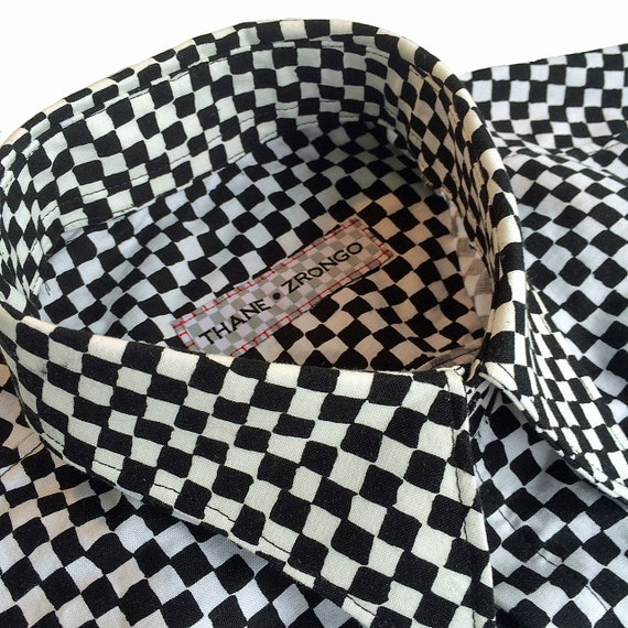 Checkerboard, Mad Hatter, Black and White, Wonderland, Cotton, Fitted, Mens Shirt