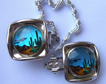 Butterfly Wing Clips Morpho Butterfly Sweater Guards Desert Cactus Landscape