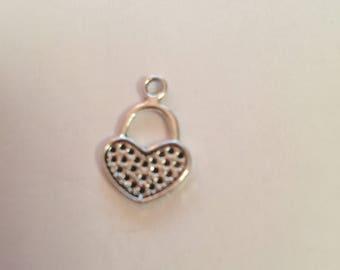 antique silver heart charm