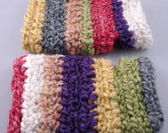 Multi-Colored Striped Crocheted Wrist Warmers (size S-M) (SWG-WW-SH01)