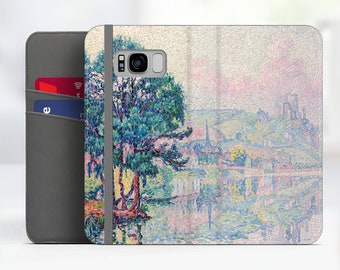 """Paul Signac """"Les Andelys"""" Art Samsung Galaxy S8 folio case iPhone 7 folio case Galaxy S9 folio Phone case for iPhone, Samsung. WC-PSI-07"""