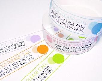 Benutzerdefinierte Vinyl Polka Dot ID Armbänder - personalisierte ID Bands - #Kids #Travel #Safety