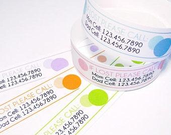 Custom Vinyl Polka Dot ID Bracelets - Personalized ID Bands - #Kids #Travel #Safety
