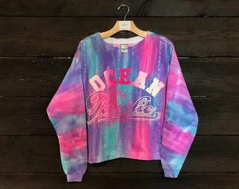 Vintage 90s Ocean Pacific Tie Dye Cropped Sweatshirt