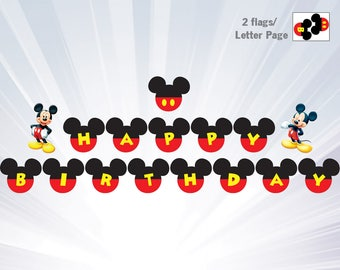 Mickey Banner birthday  - Mickey mouse birthday party - Boy invitation - Red invitation - personalized - printable