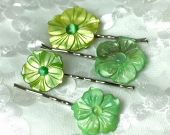 Gorgeous Greenery Mother of Pearl and Cats Eye Flower Bobby Pins ... Set of 4 for Bridesmaids