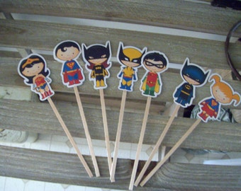 Superhero Cupcake Toppers Set of 28 with Free Shipping