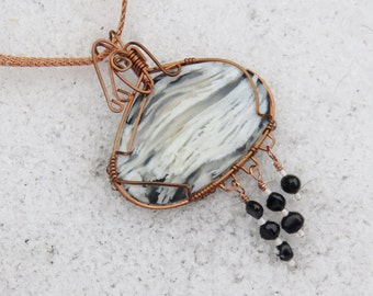 C-27 Plume Agate Wirewrapped Necklace, Agate Necklace, Agate Pendant, Gemstone Pendant, Gemstone Necklace, Wirewrapped Pendant