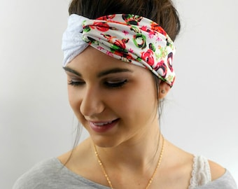 Red Rose & Lace Twist Head Wrap Turband Messy Bun Wrap Lace Turban Headband or Choose Your Print