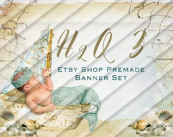 "Etsy Shop Banner Set - Graphic Banners - Branding Set - ""H2o 3"""