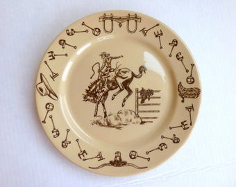 Tepco Western Traveler Plate Tepco China Rodeo Restaurant Ware 1950s Cowboy Plate