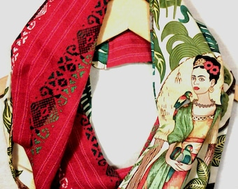 Frida Kahlo scarf, circle scarf, loop scarf