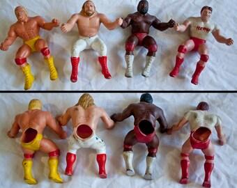 80s WWF Thumb Wrestling Superstars LJN - Hulk Hogan - Rowdy Roddy Piper - Junkyard Dog - Big John Studd