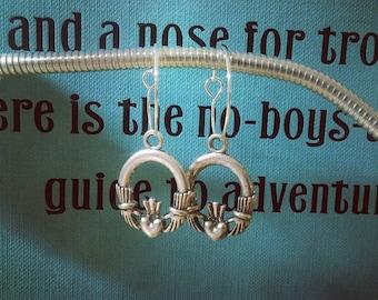 Claddagh Charm Hoop Earrings