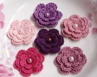 6 Crochet Flowers With Pearls In Plum, Purple, Lt Pink, Dusty Pink, Rose Mauve, Azalea YH-011-05