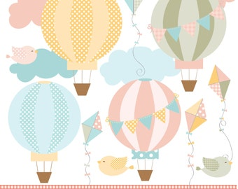 Hot air balloon and kite pastel pink yellow, blue and green clipart