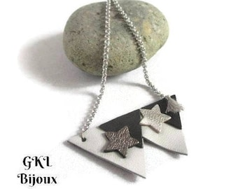 Leather triangle and star necklace