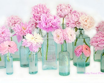 Spring Flower Photography, Shabby Chic Decor, Peonies Vintage Bottle Prints, Peony Flower Prints, Peony Floral Prints, Pink Flower Pictures